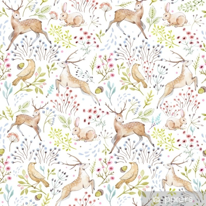 Plakat Ładny wektor wzór lasu akwarela - Zwierzęta