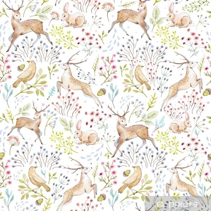 Poster Bel modello di foresta acquerello vettoriale - Animali