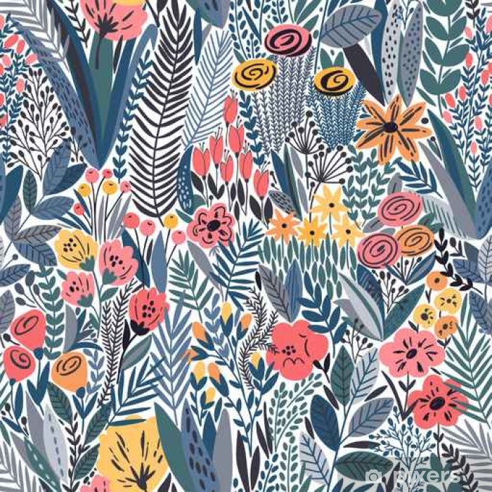Tropical seamless floral pattern Vinyl Wall Mural - Plants and Flowers