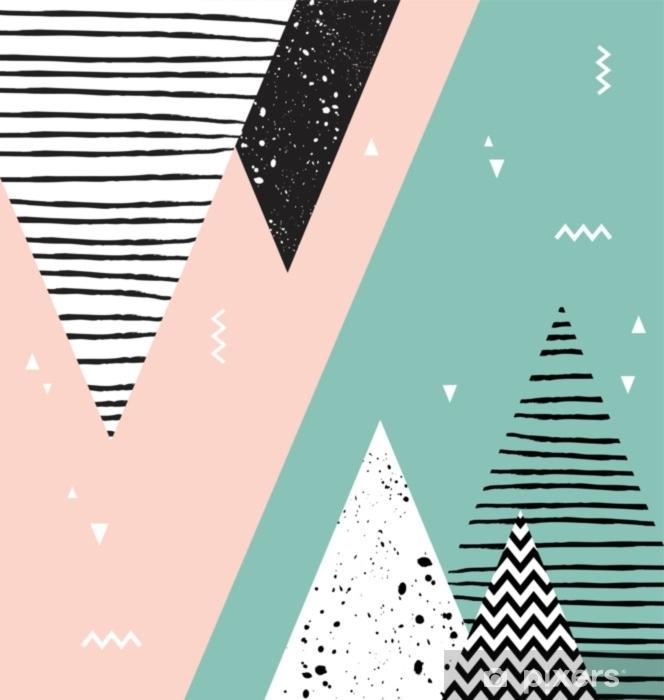 Sticker Pixerstick Modèle abstrait de style scandinave géométrique avec des montagnes, des arbres et des triangles. - Ressources graphiques