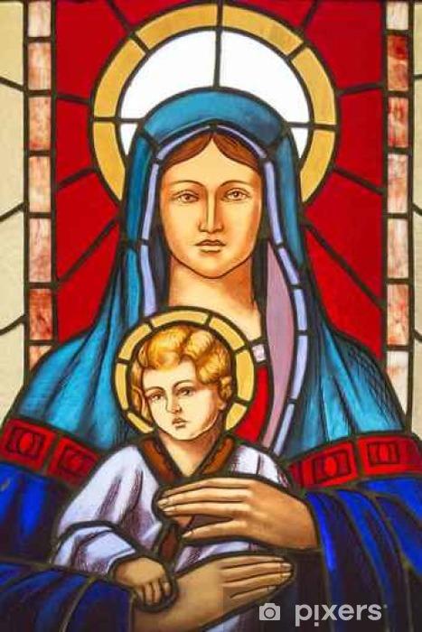 Vinyl-Fototapete Buntglasfenster mit Glasmalerei Darstellung der Jungfrau Maria und dem Jesuskind - Religion und Kultur