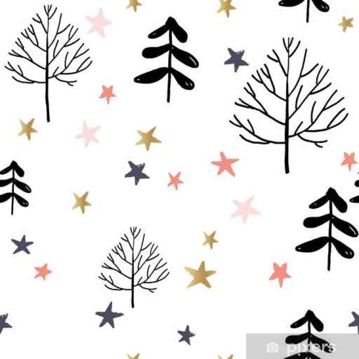 Poster Les arbres et les étoiles dans la forêt sur le fond blanc. Vector seamless pattern. Noël illustration nature. Vacances d'hiver. - Ressources graphiques
