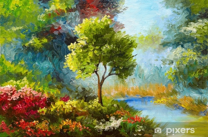 oil painting, flowers and trees near the river, sunset Wall Mural , Vinyl