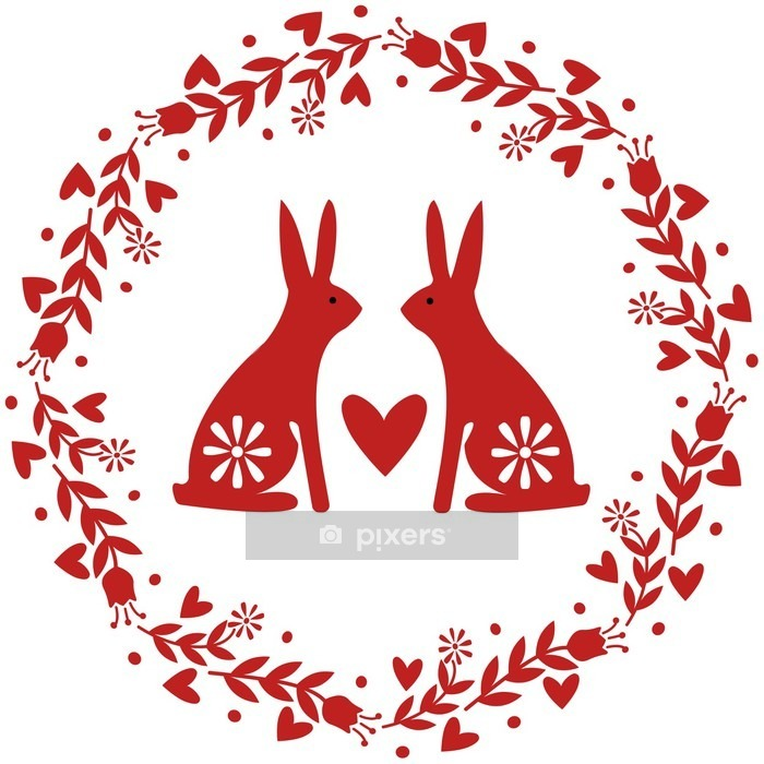 Wreath with flowers and Rabbits as Traditional Folk Motif Wall Decal - Animals