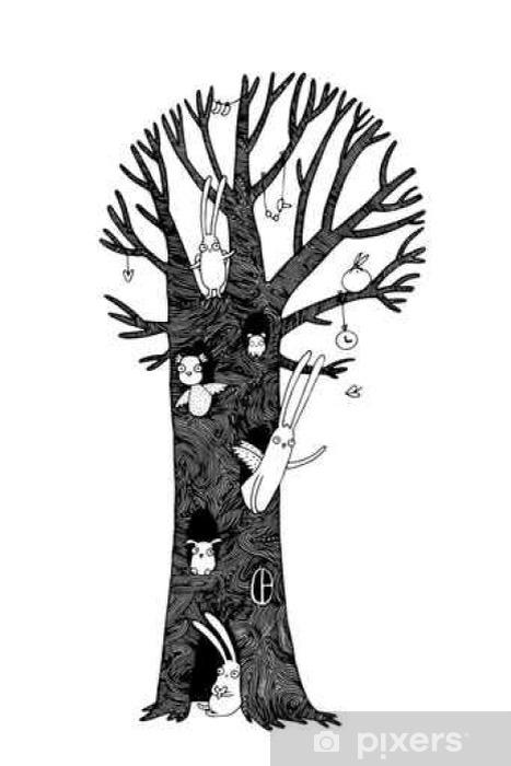 Sticker Pixerstick Magic Tree, lapins, hibou, le chien et la souris. Paysage d'hiver. - Animaux