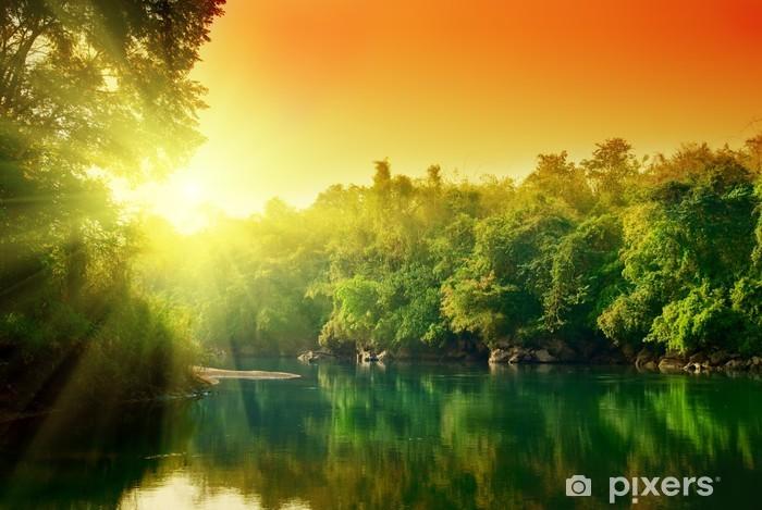 Fototapet av Vinyl Solnedgång i djungeln av Thailand - Teman