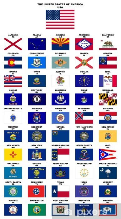 Zelfklevend Fotobehang USA: Vlaggen van de staten (met namen en postcodes) - Amerikaanse steden