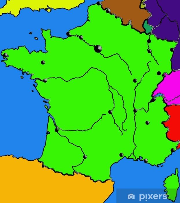 Frankreich Karte Stadte.Aufkleber Frankreich Karte Meere Stadte Flusse Rahmenfarbe Pixerstick