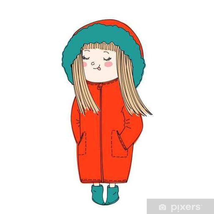 Plakat Izolowane cute girl sobie ciepłe zimowe ubrania: płaszcz z kapturem i butami
