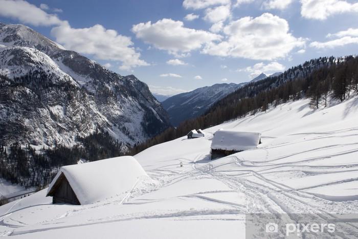 Vinyl Fotobehang Sneeuw sporen - Vakantie