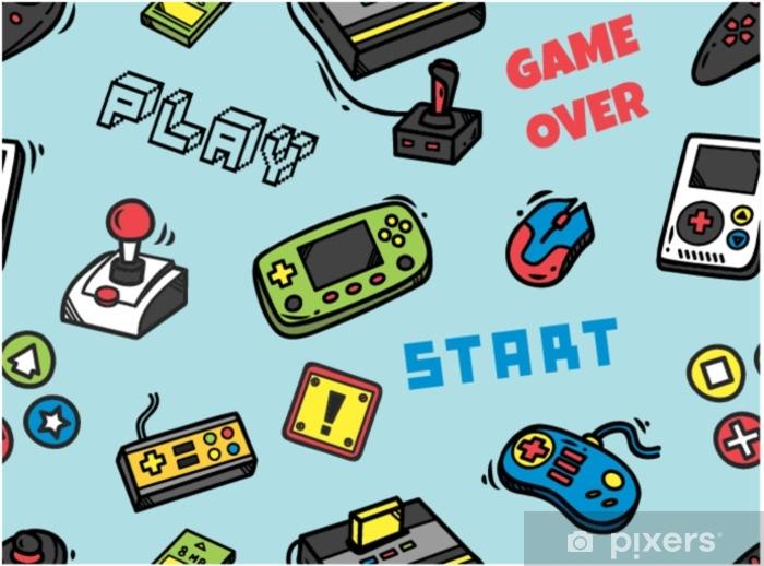 Naklejka Pixerstick Gra wideo bezszwowe tło - Hobby i rozrywka