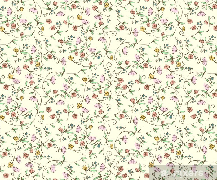 Pixerstick Klistermärken Klassiska Skuttande blommig sömlös bakgrundsbild - Teman