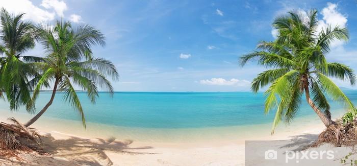 Fototapeta winylowa Panoramiczne tropikalnych plaża z palmy kokosowej - Palmy
