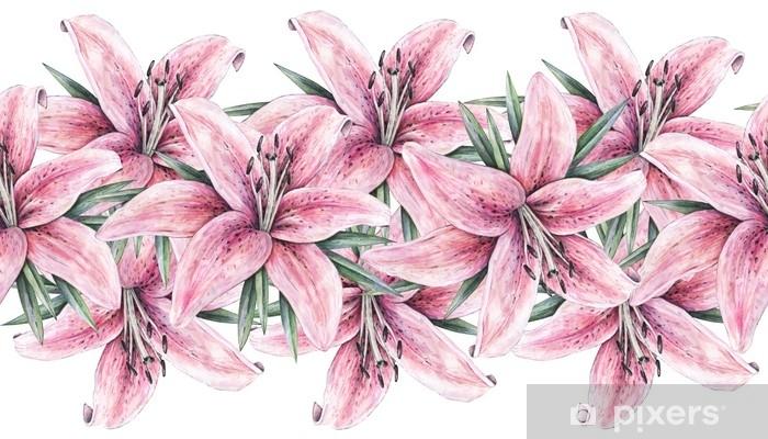 Fotomural Flores De Lirio Rosa Aisladas Sobre Fondo Blanco