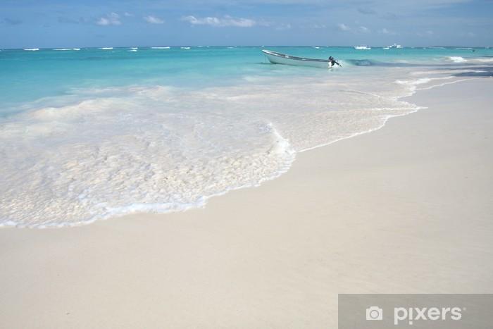 Carta Da Parati Tropical Spiaggia Di Sabbia Bianca E Mare Sfondo