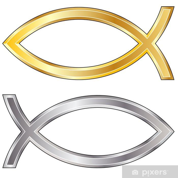 Aufkleber Gold Und Silberschmuck Christian Jesus Fisch Symbol Pixerstick