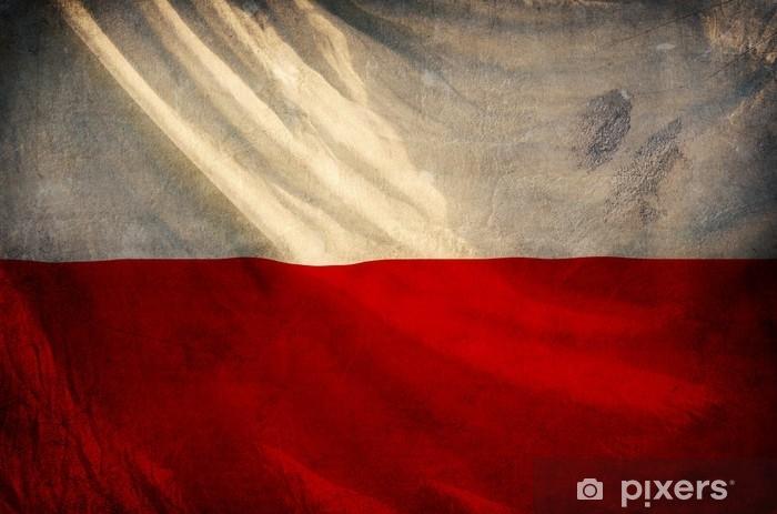 Koc pluszowy Polska flaga, grunge i retro seria flag - Zasoby graficzne