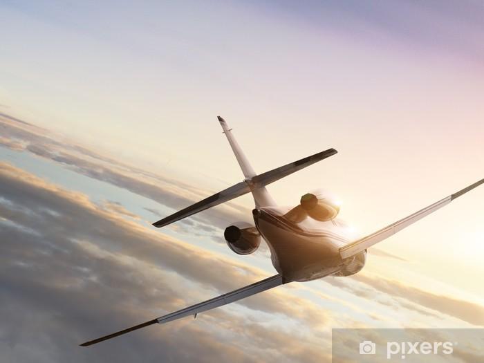 Pixerstick Sticker Jet vliegtuig op vliegen naar de zonsondergang - Thema's