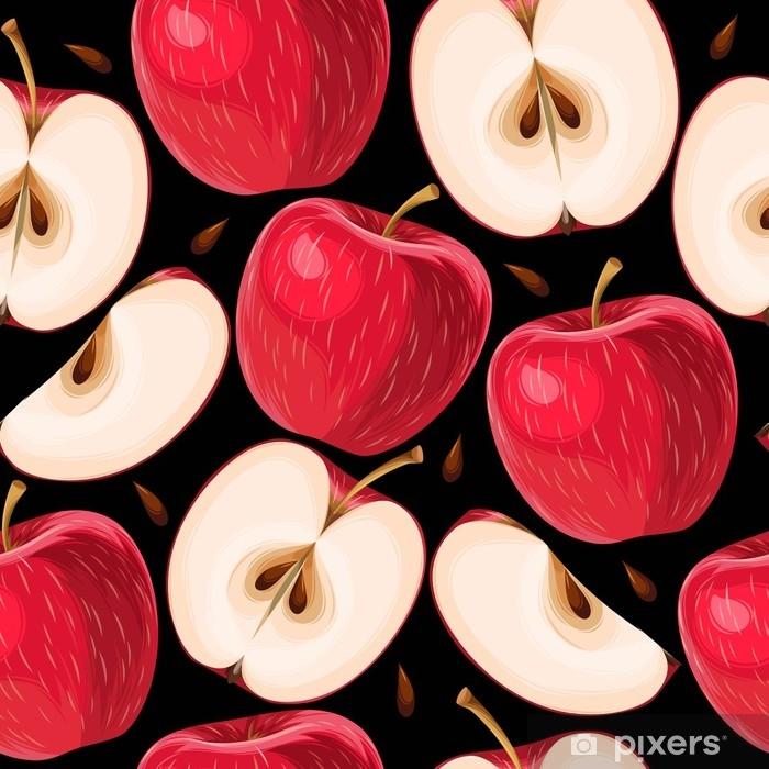 Vinylová fototapeta Červené jablka a plátky jablek bezproblémové - Vinylová fototapeta