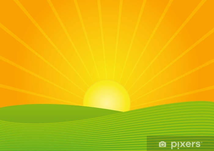 Pixerstick Aufkleber Sonnenuntergang - Landwirtschaft