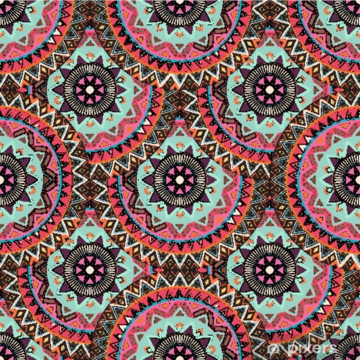 Fotomural Lavable Textura transparente floral adornado, patrón interminable con elementos vintage mandala. - Recursos gráficos