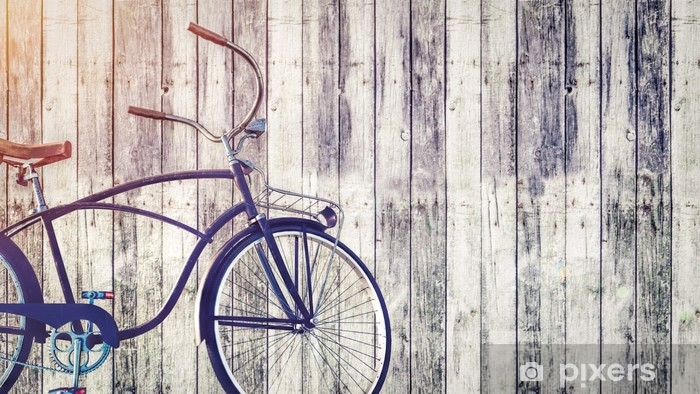 vintage bicycle parked beside wooden wall. sticker • pixers® • we