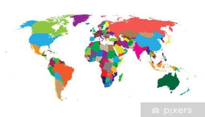 Karte Erde.Fototapete Leere Bunte Politische Weltkarte Auf Weißem Hintergrund Weltkarte Vektor Vorlage Für Die Website Infografiken Design Flache Erde Welt