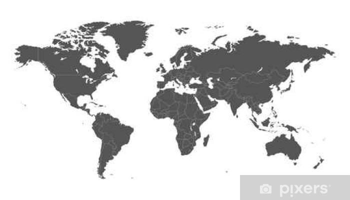 Fototapeta winylowa Puste szare polityczna mapa świata na białym tle. Mapa świata wektor szablon dla strony internetowej, infografiki, projektowe. Flat Earth Mapa świata ilustracji. - Nauka
