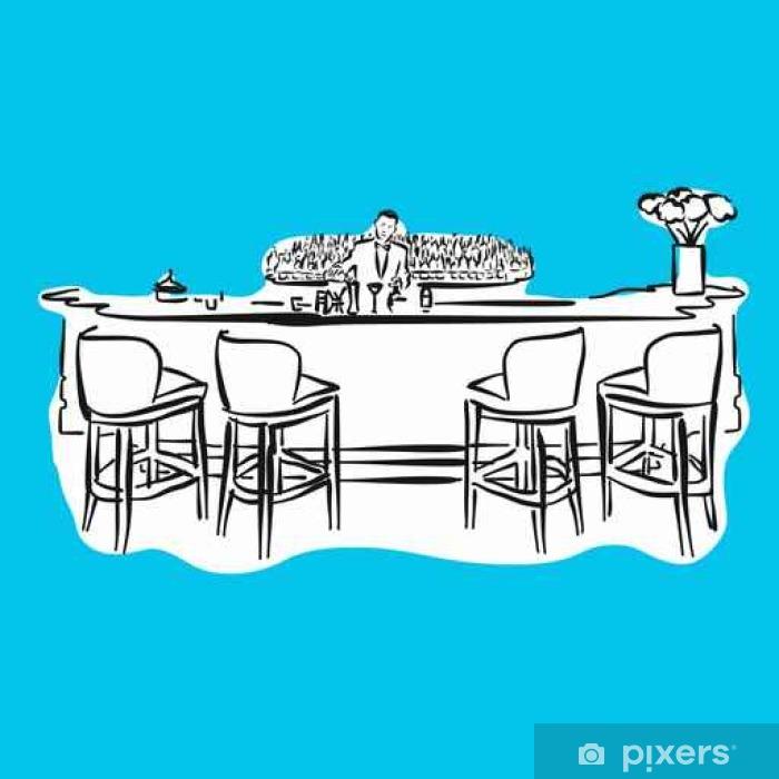 Poster Hôtel Bar mit Barkeeper, Blaue Série - Voyages