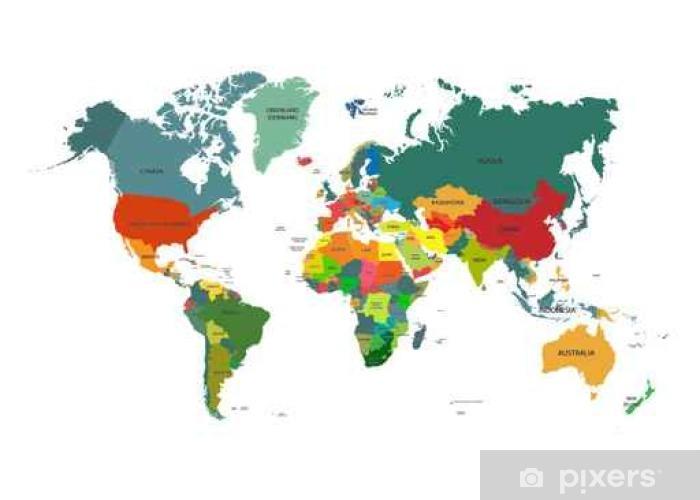 Cartina Del Mondo Con Nomi.Adesivo Mappa Del Mondo Con I Nomi Dei Paesi Isolati Su Sfondo Bianco Illustrazione Vettoriale Pixers Viviamo Per Il Cambiamento