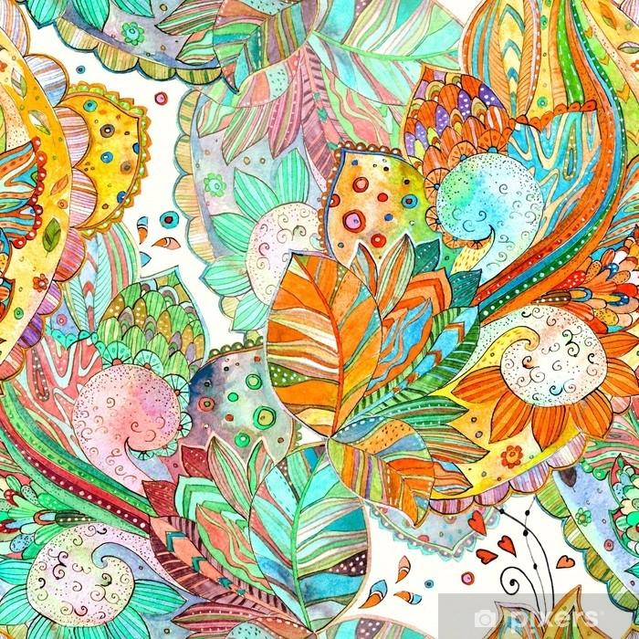 Süslü çiçek Ile Renkli Kesintisiz Doku Suluboya Boyama Duvar Resmi