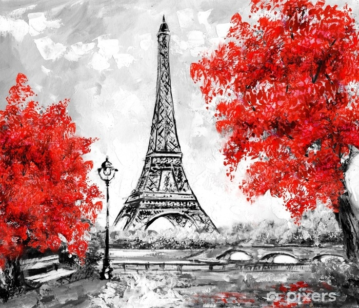 Oil Painting Paris European City Landscape France Wallpaper Eiffel Tower Black White And Red Modern Art Wall Mural Pixers We Live To Change