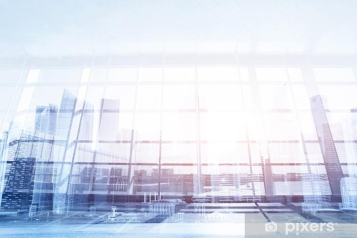 Vinilo para Nevera Fondo de negocios moderno, pared de vidrio en la oficina o aeropuerto, interior abstracto - Construcciones y arquitectura