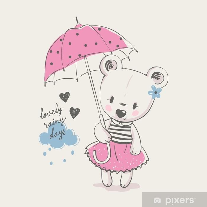 Sticker Mignonne Petite Fille Avec Parapluie Dessin Animé Illustration Vectorielle Dessinés à La Main Peut être Utilisé Pour L Impression De T Shirt