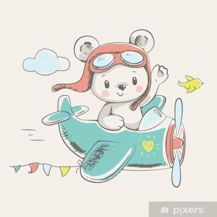 Carta Da Parati Carino Piccolo Orso In Volo Su Un Aereo Disegnato