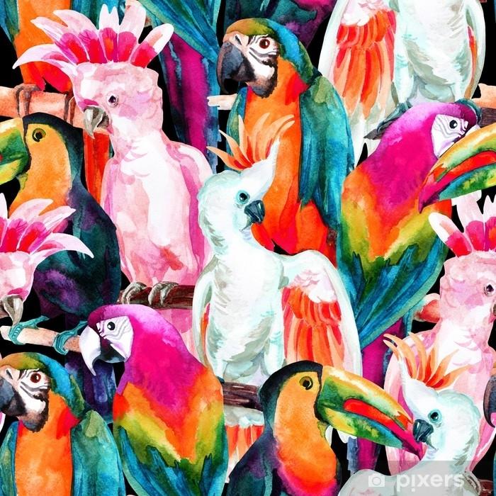 Fototapeta winylowa Akwarela papugi wzór - Zwierzęta