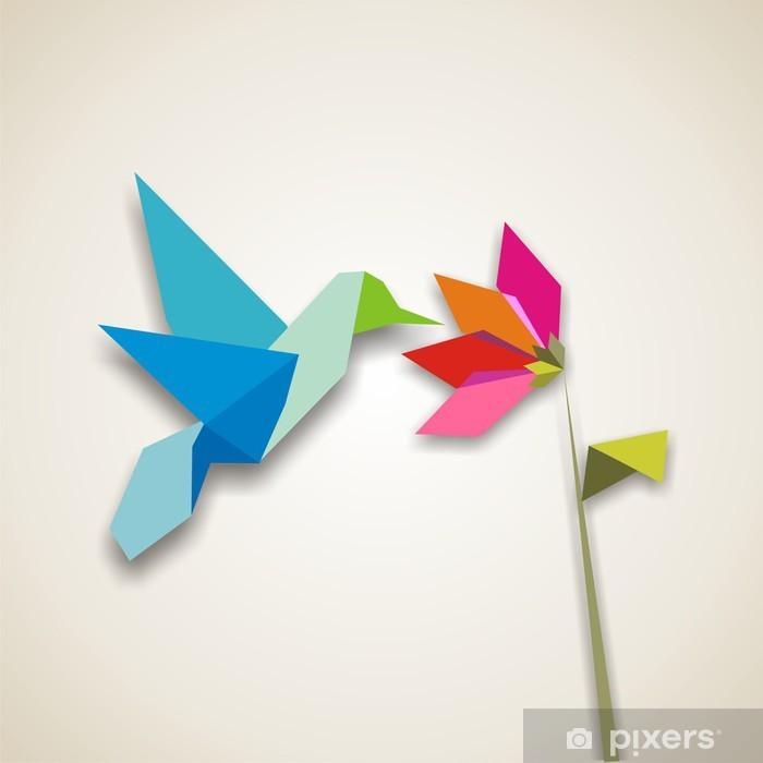 Poster Origami colibri - Styles