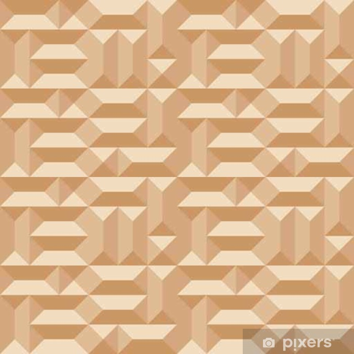Seamless geometric architectural pattern. Convex metallic texture with rectangular and square pyramids. Gold colored background. Vector Pixerstick Sticker - Graphic Resources