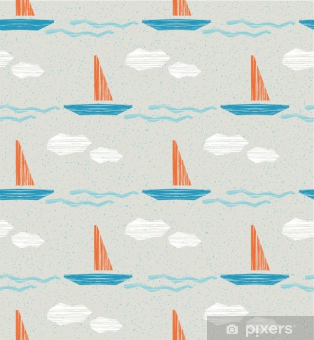 seamless summer pattern with boats Vinyl Wall Mural - Travel