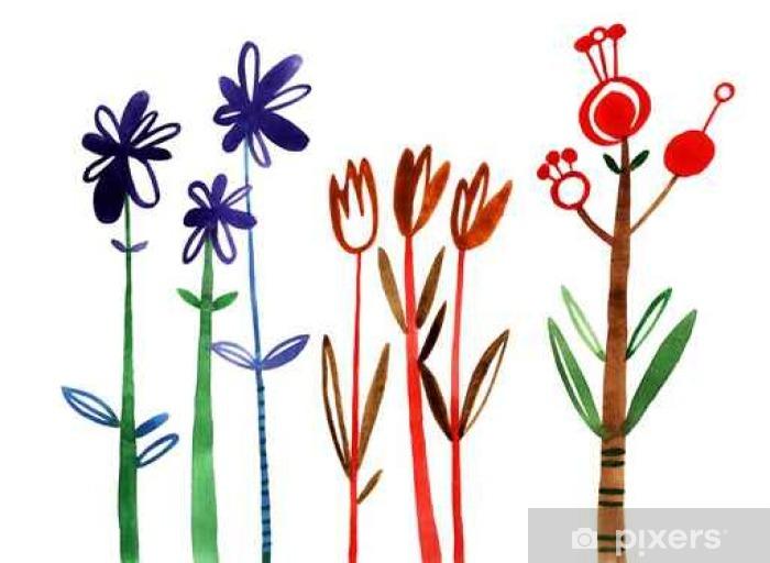Sticker Vitre Fleurs Fixées Colorful Collection Floral Avec Des Feuilles Et Des Fleurs Dessin Aquarelle Printemps Ou été Conception Pour