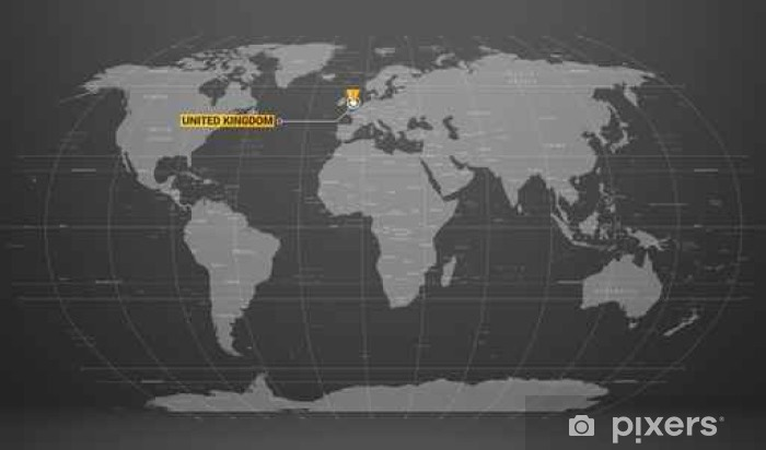 Detailed World Map Of Gray Colors Names Town Marks And National