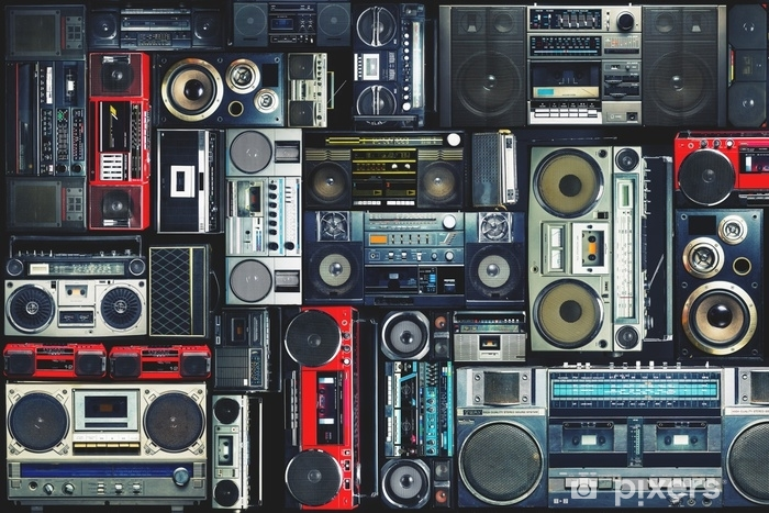 Vinilos Pared Vintage.Vinilo Para Armario Pared Vintage Llena De Boombox De Radio De Los Anos 80
