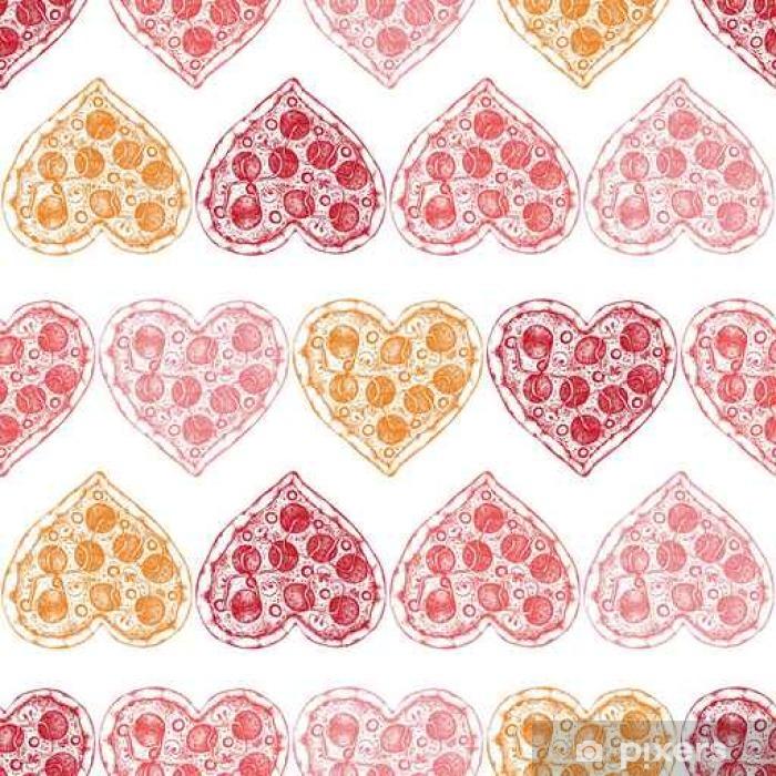 Poster Valentinstag Hintergrund mit Hand gezeichnet Pizza Skizze. Nahtlose Muster mit Vintage-Lebensmittel Illustration. - Religion und Kultur