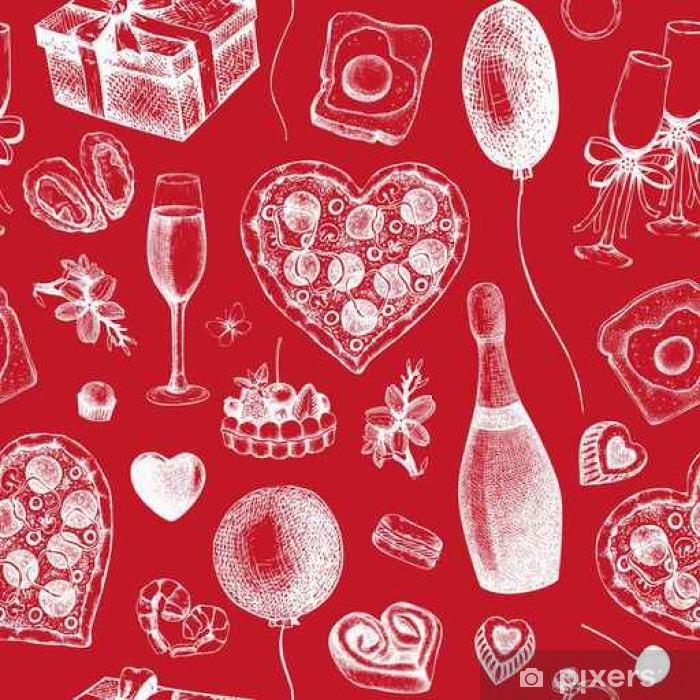 Pixerstick Sticker Valentijnsdag Achtergrond. Naadloos uitstekend patroon met de hand getekende vakantie elementen schets. Vector illustratie. - Religie en Cultuur