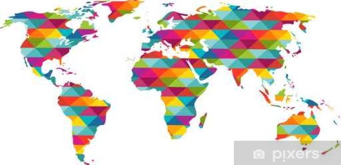 carte du monde couleur Carte du monde en couleur Wall Mural • Pixers®   We live to change