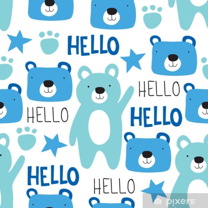 Carta da Parati in Vinile Illustrazione di vettore del reticolo senza giunte dell'orsacchiotto - Animali