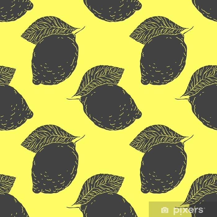 68bbec3dbd Carta da Parati in Vinile Limone succoso con foglie - vector seamless  disegnato a mano. schizzo di agrumi maturi, design in stile vintage