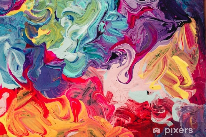 Zelfklevend Fotobehang Macro close-up van verschillende kleuren olieverf. kleurrijk acryl. moderne kunst concept. - Hobby's en Vrije tijd