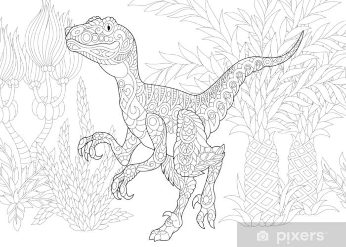 Coloriage Dinosaure Adulte.Papier Peint Dinosaure En Velociraptor Stylise Du Cretace Superieur