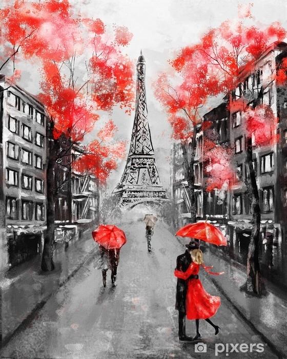 Naklejka Pixerstick Obraz olejny, paryż. europejski krajobraz miasta. Francja, tapeta, wieża eiffla. czarny, biały i czerwony, sztuka współczesna. para pod parasolem na ulicy - Podróże